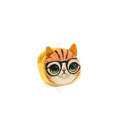 Porta Moedas Estampado Gatinho com Óculos
