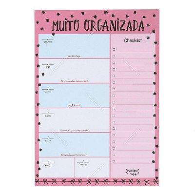 Bloco Planner de Mesa Semanal Muito Organizada