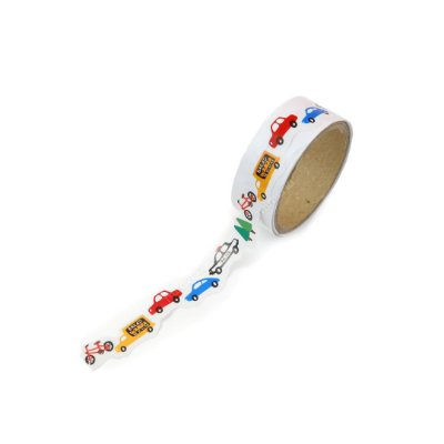 Fita Adesiva Washi Tape Decorada com Recortes Veículos