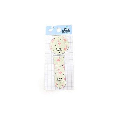 Kit Marcador de Páginas Magnético Cute Flamingo Rosa