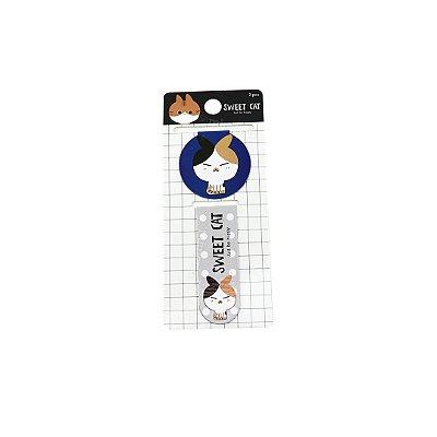 Kit Marcador de Páginas Magnético Sweet Gatinho Azul Marinho