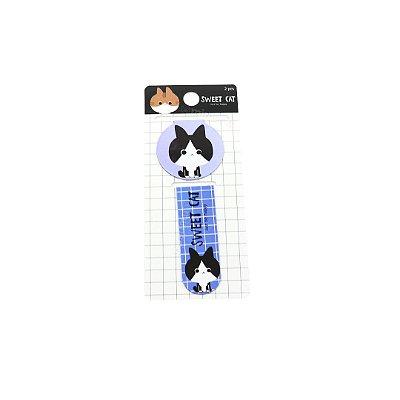 Kit Marcador de Páginas Magnético Sweet Gatinho Azul Bebê