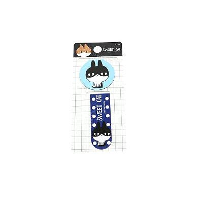 Kit Marcador de Páginas Magnético Sweet Gatinho Azul Celeste
