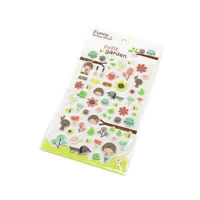 Cartela de Adesivos Stickers Petit Garden em Alto Relevo