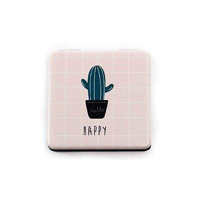 Mini Espelho Estampado Cacto Happy