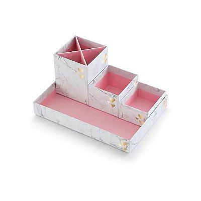 Kit Caixas Organizadoras Pink Stone Mármore