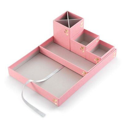 Kit Caixas Organizadoras Pink Stone Geométrico Médio