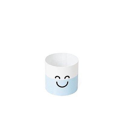 Cachepô em Aço Sou Feliz Azul Pequeno