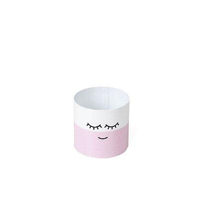 Cachepô em Aço Cílios Rosa Pequeno