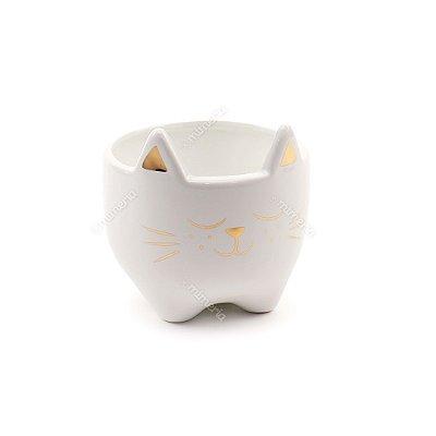 Cachepô de Cerâmica Gato Branco e Dourado Grande