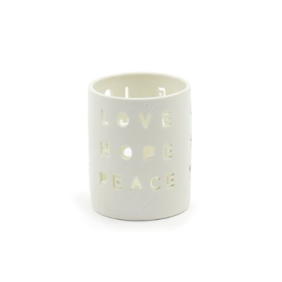 Castiçal de Porcelana Love Hope Peace Branco