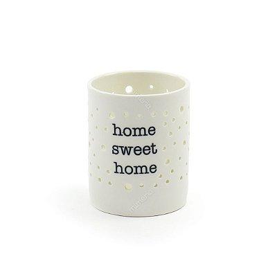 Castiçal de Porcelana Home Sweet Home Branco