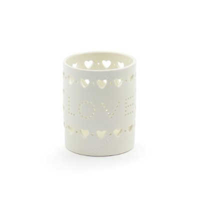 Castiçal de Porcelana Love Corações Branco