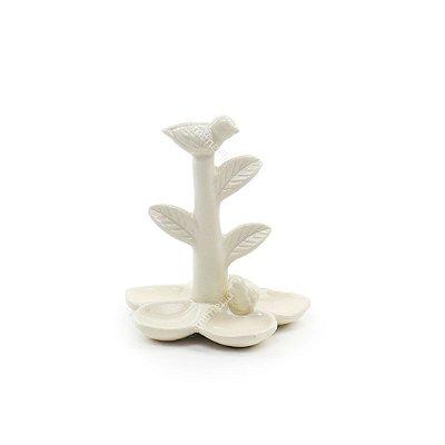 Porta Anel em Cerâmica Flor e Pássaros Branco