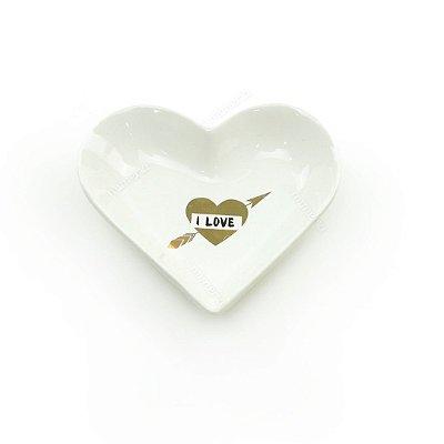Mini Prato Decorativo em Cerâmica Coração I Love Branco