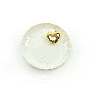 Mini Prato Decorativo em Cerâmica Coração Branco e Dourado