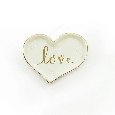 Mini Prato Decorativo em Cerâmica Love Coração Branco