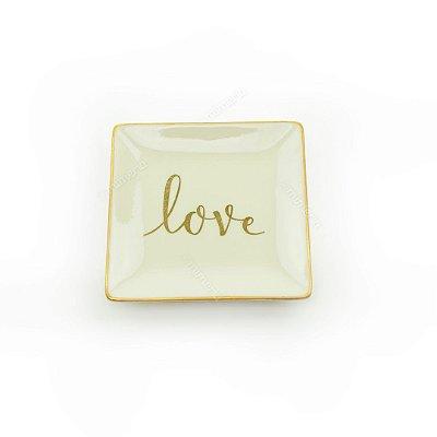 Mini Prato Decorativo em Cerâmica Love Quadrado Branco