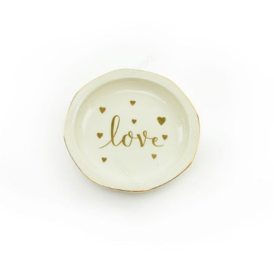 Mini Prato Decorativo em Cerâmica Love Redondo Branco