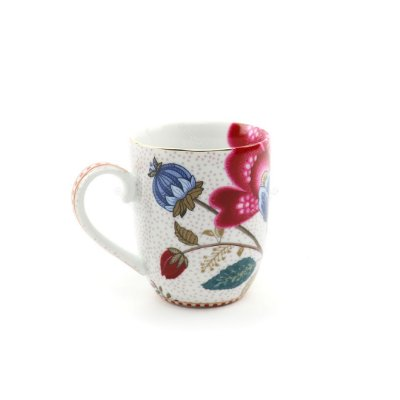 Caneca Pequena Floral Fantasy Branca Pip Studio