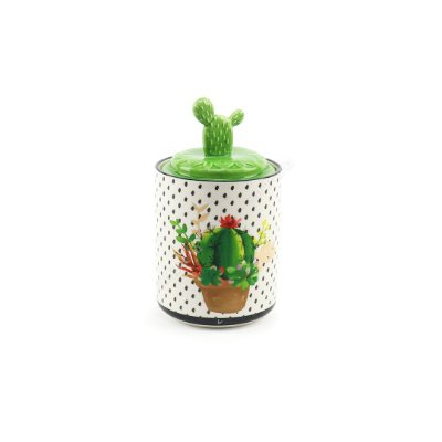Pote em Cerâmica Decorativo Cactus Verde Pequeno