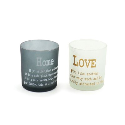 Kit Castiçal de Vidro House and Love Branco e Cinza