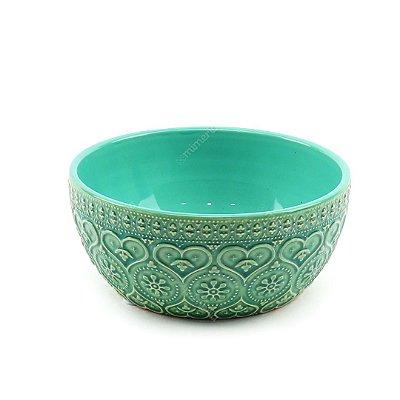 Bowl em Cerâmica Corações e Flores em Alto Relevo Verde