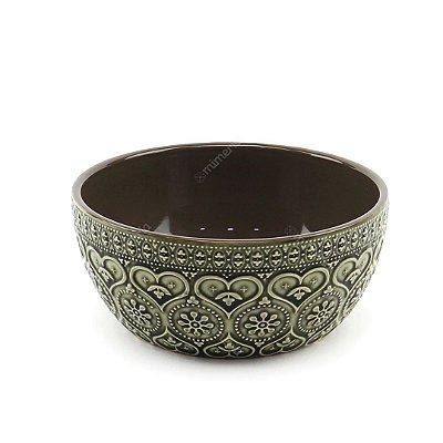 Bowl em Cerâmica Corações e Flores em Alto Relevo Cinza