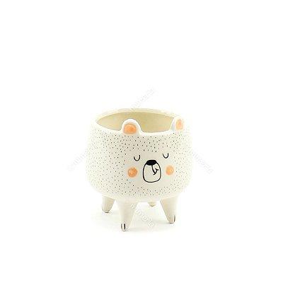 Cachepô em Cerâmica Urso Branco Pequeno