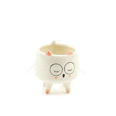 Cachepô em Cerâmica Coruja Branco Pequeno