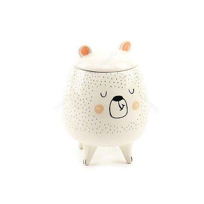 Pote em Cerâmica Urso Branco