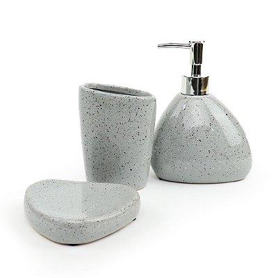 Kit de Banheiro em Cerâmica Stone Cinza
