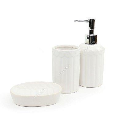 Kit de Banheiro em Cerâmica Lovely Hearts Branco