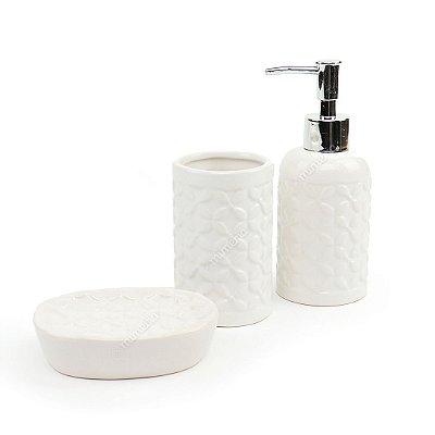 Kit de Banheiro em Cerâmica Four Leaf Clover Branco