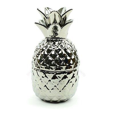 Pote de Cerâmica Abacaxi Prata Grande