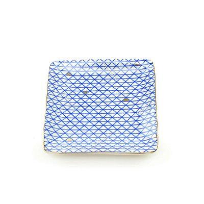 Mini Prato Decorativo em Cerâmica Quadrado Losangos Azul e Dourado