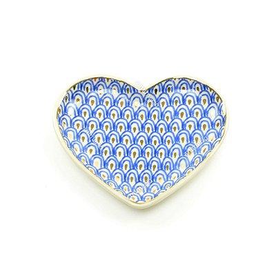 Mini Prato Decorativo em Cerâmica Coração Pavão Azul e Dourado