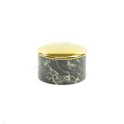 Mini Pote em Cerâmica Redondo Mármore Preto e Dourado