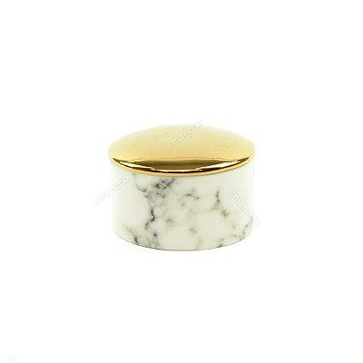 Mini Pote em Cerâmica Redondo Mármore Branco e Dourado