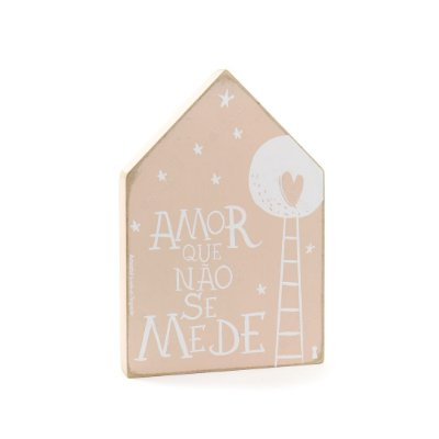 Quadro Casinha em Madeira Amor Que Não Se Mede Médio