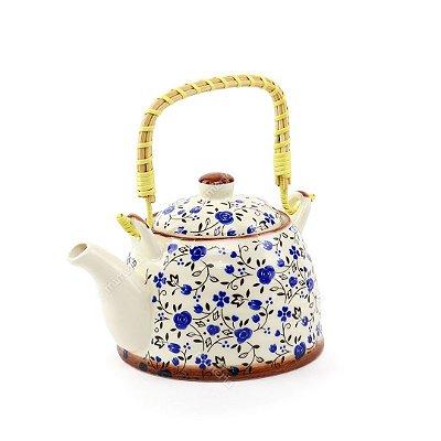 Chaleira de Cerâmica Decorativa Florzinhas Azuis Pequena