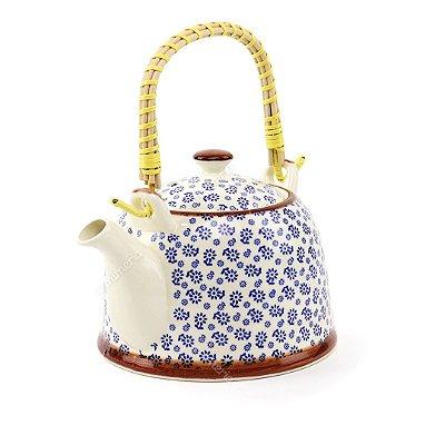 Chaleira de Cerâmica Decorativa Florzinhas Azuis Média