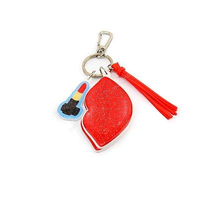 Chaveiro Estampado Com Espelho Make Up Boca Vermelha