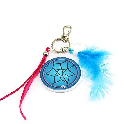 Chaveiro Estampado Redondo Filtro dos Sonhos Azul