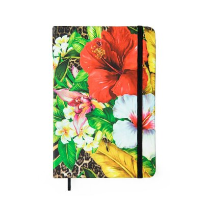Caderneta Sem Pauta Floral Hype Preta Média