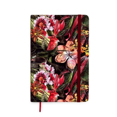 Caderneta Sem Pauta Floral Hype Vinho Média
