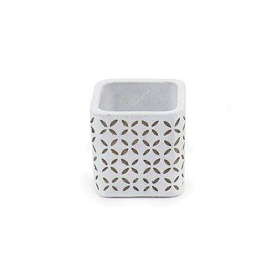Cachepô em Cimento Geométrico Branco Pequeno