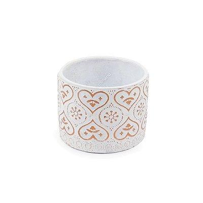 Cachepô em Cimento Marroquino Branco e Cobre Pequeno