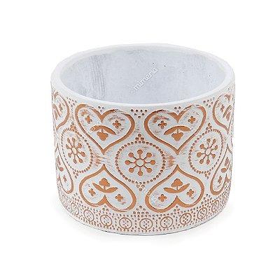 Cachepô em Cimento Marroquino Branco e Cobre Grande