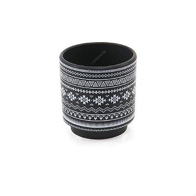 Cachepô em Cerâmica Étnico Preto e Branco Grande